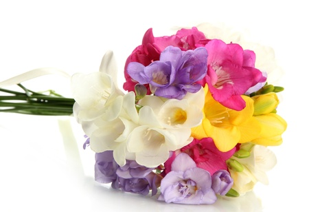 flower petal: Beautiful bouquet of freesias, isolated on white Stock Photo