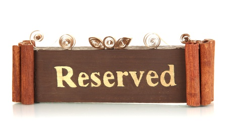 Reserved sign isolated on white photo