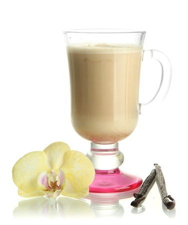 fragrant: Fragrant coffee latte in glass cup with vanilla pods isolated on white