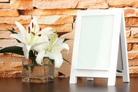 White photo frame for home decoration on stone wall background Stock Photo - 18558643