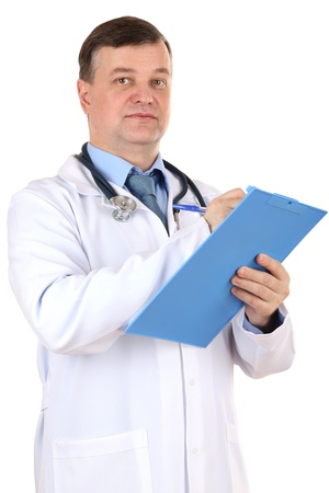 Medical doctor with stethoscope and clipboard isolated on white photo