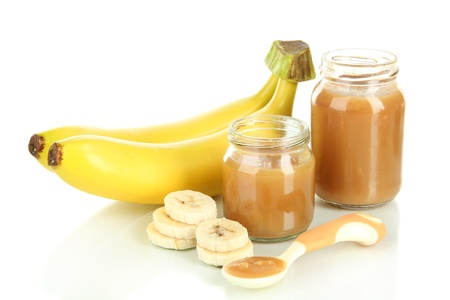 pureed: Baby puree with bananas isolated on white