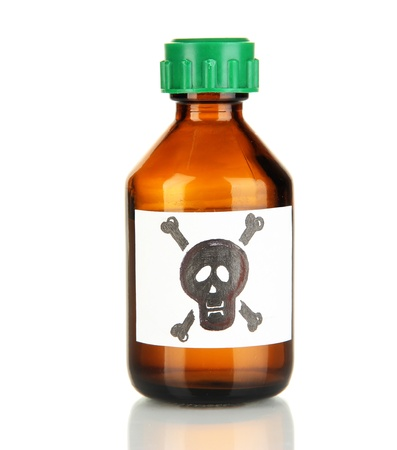 deadly poison: Deadly poison in bottle isolated on white