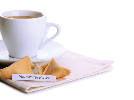 Cup of coffee and fortune cookies, isolated on white photo
