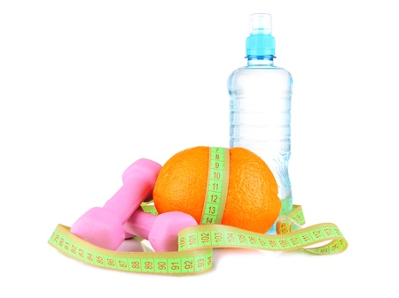 Orange with measuring tape, dumbbells and bottle of water, isolated on white Stock Photo - 18556185