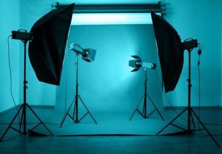 studio photography shot: Photo studio with lighting equipment