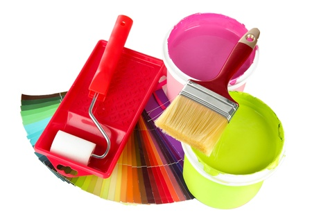 Set for painting: paint pots, brushes, paint-roller and palette of colors isolated on white Stock Photo - 18600334
