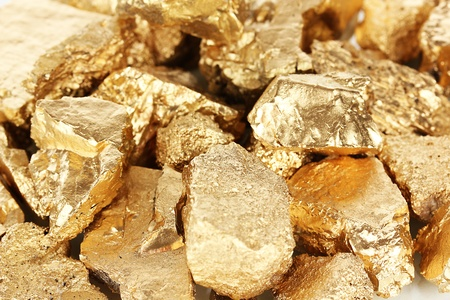 Golden nuggets close-up Stock Photo - 18631472