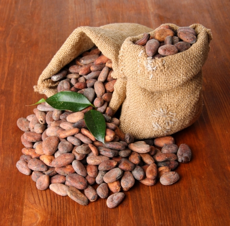 Cocoa beans in bags with leaves on wooden background photo