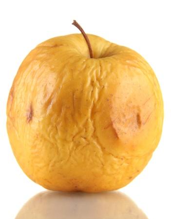 scarring: Mela gialla come concetto problema di pelle, isolato su bianco