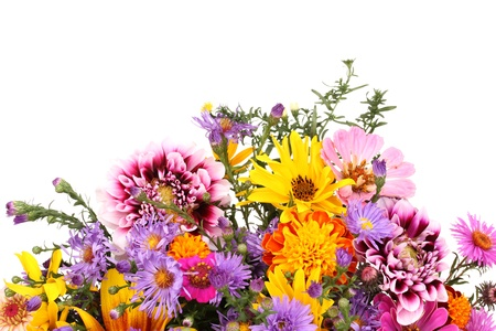 flower arrangement: beautiful bouquet of bright flowers isolated on white