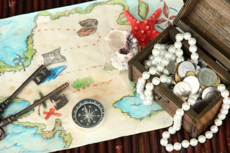 map of treasures on dark wooden background photo