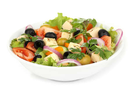 greek salad: Greek salad in plate isolated on white