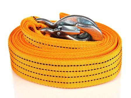 Tow rope for car isolated on white photo