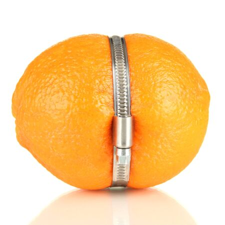 Lemon squeezed in metal clamp, isolated on white Stock Photo - 18640531