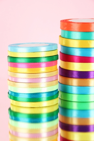 favours: Bright ribbons on pink background