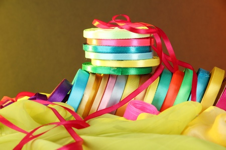 favours: Bright ribbons on bright  background Stock Photo