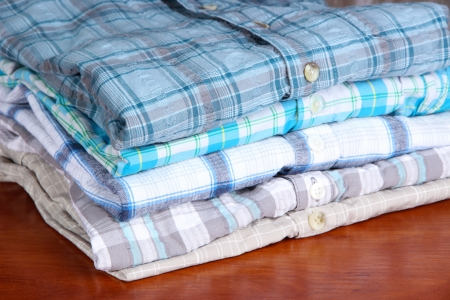 Shirts neatly folded close-up Stock Photo - 18696768
