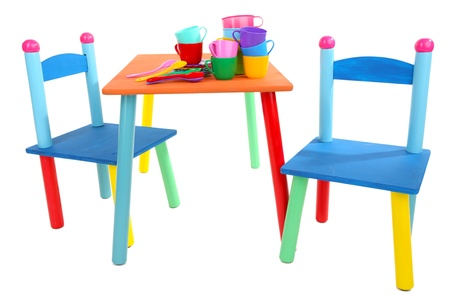 Small and colorful table and chairs for little kids isolated on white Stock Photo - 18693862