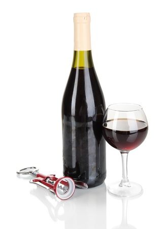 semisweet: Corkscrew and bottle of wine isolated on white Stock Photo