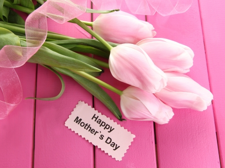 Beautiful bouquet of tulips for Mother's Day on pink wooden background photo