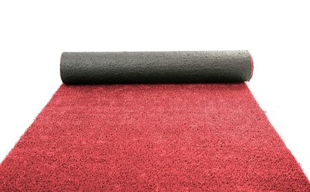 carpet grass: Artificial rolled red grass, isolated on white Stock Photo
