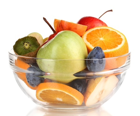 Glass bowl with fruit for diet isolated on white Stock Photo - 18741108