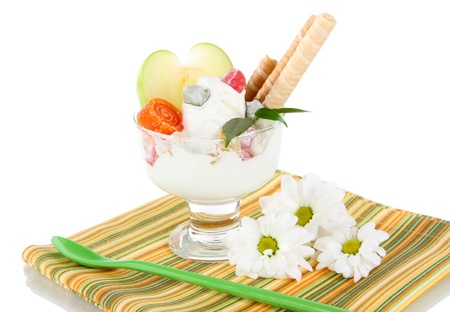 seemed: Ice cream with wafer sticks on napkin on white background Stock Photo