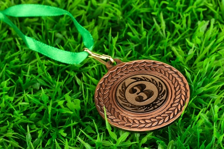 Bronze medal on grass background photo