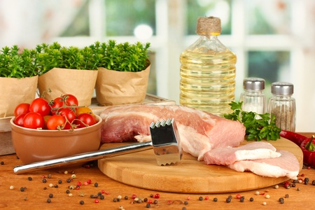 composition of raw meat, vegetables and spices on wooden table close-up Stock Photo - 18762045