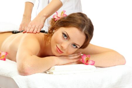 beautiful young woman in spa salon getting massage with spa stones Stock Photo - 21546520