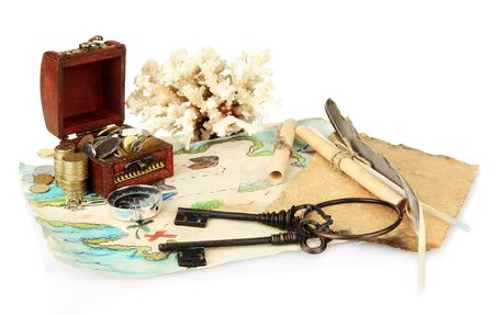map and treasures, isolated on white photo