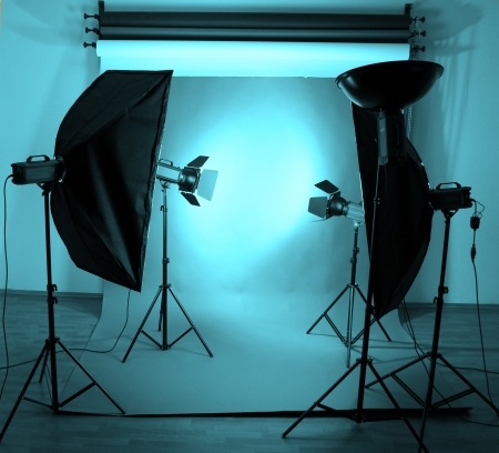 Photo studio with lighting equipment photo