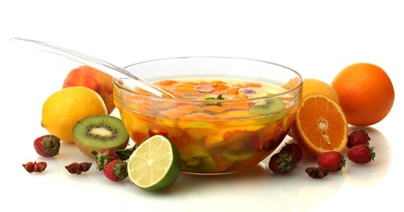 punch in glass bowl with fruits, isolated on white Stock Photo - 18816148