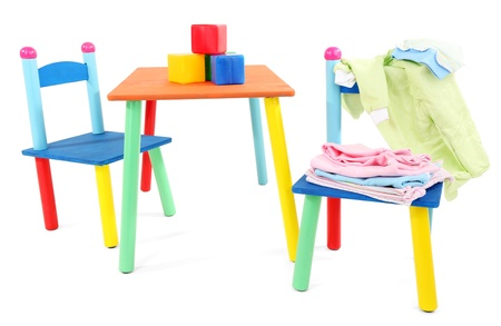 Small and colorful table and chairs for little kids isolated on white Stock Photo - 18816523