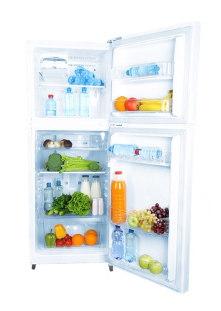 refrigerator with food: Open refrigerator with vegetarian food