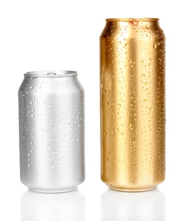cans with water drops isolated on white photo