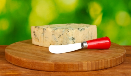 Cheese with mold and knife on the cutting board on bright green background photo