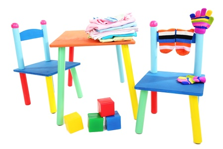 Small and colorful table and chairs for little kids isolated on white Stock Photo - 18818530