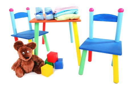 Small and colorful table and chairs for little kids isolated on white Stock Photo - 18819246