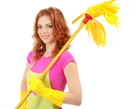 house clean: Young housewife with mop, isolated on white Stock Photo