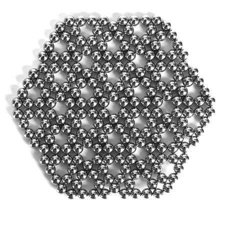 Metal balls of neocube (toy), isolated on white photo