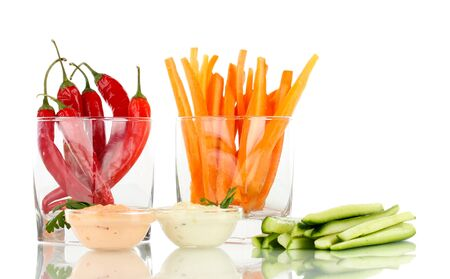 Assorted raw vegetables sticks isolated on white Stock Photo - 18839135