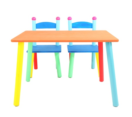Small and colorful table and chairs for little kids isolated on white Stock Photo - 18839030
