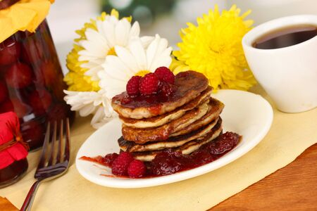 delicious sweet pancakes on bright background Stock Photo - 18890424