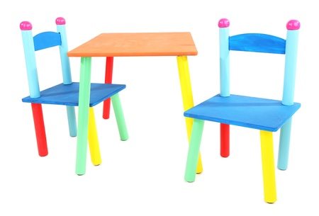 Small and colorful table and chairs for little kids isolated on white Stock Photo - 18890285