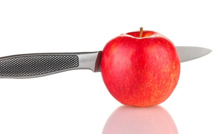 tastyhealth: Red apple and knife isolated on white Stock Photo