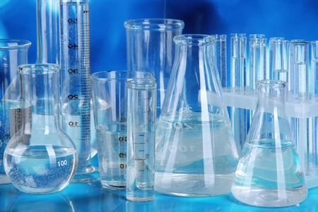 glassware: Test tubes on blue background