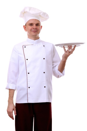 culinary skills: Portrait of chef holding tray on his palm isolated on white Stock Photo