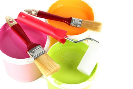 Set for painting: paint pots, brushes, paint-roller isolated on white Stock Photo - 19037514